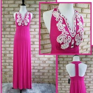 🆕️ INC Boho Pink Embellished Racerback Maxi Dress
